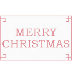 Cross stitch merry christmas frame vector