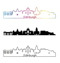 Edinburgh skyline linear style with rainbow in vector