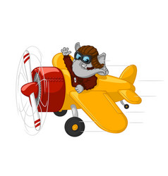 elephant is flying on an airplane vector image vector image