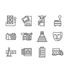 Event agency black simple line icons set vector