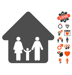 family home icon with dating bonus vector image