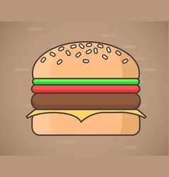 flat style hamburger fastfood concept vector image