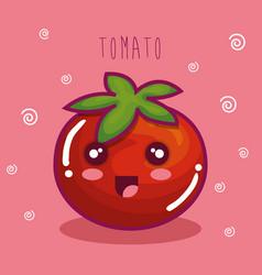 fresh tomato vegetable character vector image vector image
