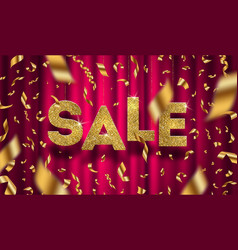 Glitter gold grand sale sign vector