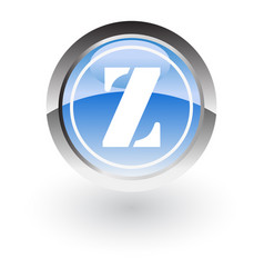glossy icon letter z vector image