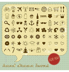 Hand drawn icons set for You vector image