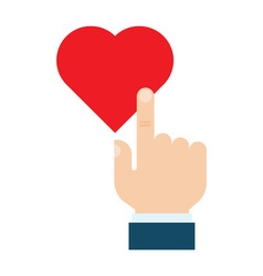 Hand pressing like heart button vector