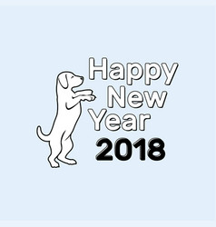 happy new year dog 2018 vector image