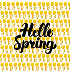 Hello spring postcard design vector