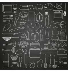 Home kitchen tools and food outline icon on vector