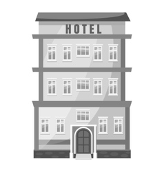 Hotel building icon gray monochrome style vector image vector image