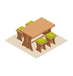 Isometric dining table with chairs vector