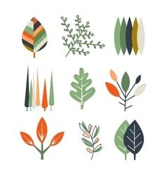 Leaf Set in Flat Design vector image vector image