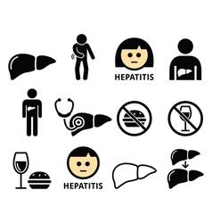 Liver disease Hepatitis health icons set vector image vector image