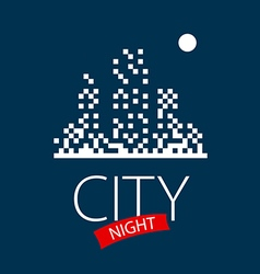 Logo night city and moon vector