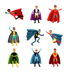 Male superheroes in different costumes set of vector
