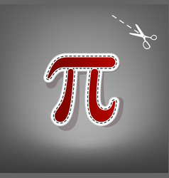 Pi greek letter sign red icon with for vector