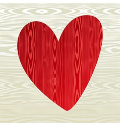 Red wooden heart shape vector image vector image