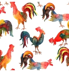 Seamless pattern with fire cock on white vector