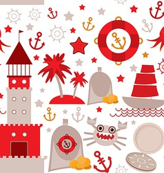 Seamless pattern with sea icons on white vector