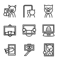 Selfie elements line icons vector