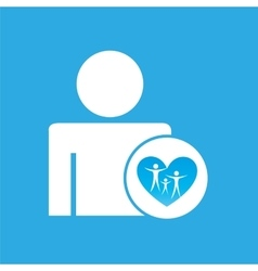 Silhouette man with family care health graphic vector