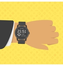 Smart watch on businessman hand vector image vector image