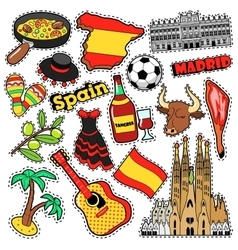 Spain travel scrapbook stickers patches badges vector