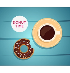 Sweet donut with coffee donut on table dinner on a vector