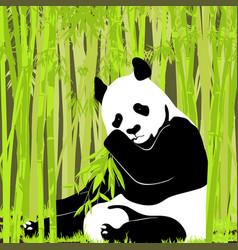 Sweet panda in bright foliage vector