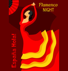 traditional spanish flamenco woman in red dress vector image