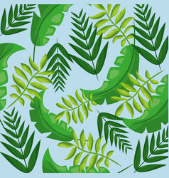 Tropical leaves foliage frond plant seamless vector