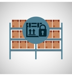 Warehouse box padlock security icon vector
