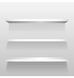 White empty shelves on the wall vector image vector image