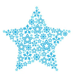 Christmas star made of star and snowflakes icons vector