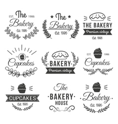 Hand drawn cupcakes label set vector