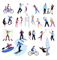 Active leisure people icons set vector