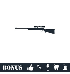Sniper rifle icon flat vector
