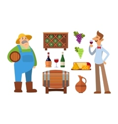 Wine production set vector