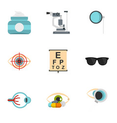 Optical icons set flat style vector