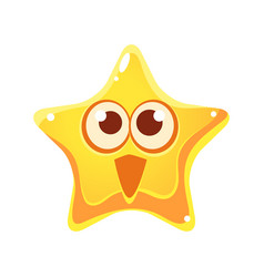 Surprised and happy emotional face of yellow star vector