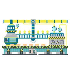Factory conveyor industrial line packing cardboard vector