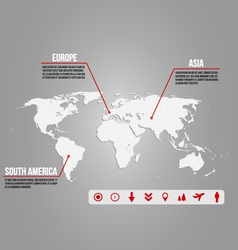 Infographic -world map with various icons vector