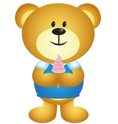 Cartoon boy bear eating ice cream - full colour vector