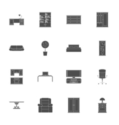Furniture silhouettes icon set vector