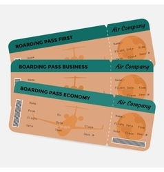 Set of airline boarding pass orange and green vector