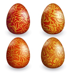 collection golden easter egg with different patter vector image