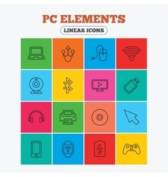 Computer elements icons notebook usb port vector