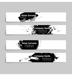 Set of abstract ink and splashes banners vector
