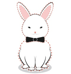 White bunny with bow vector